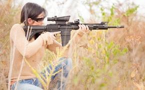 Wallpaper grass, girl, Remington, sniper