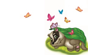 Picture butterfly, art, children's, badger