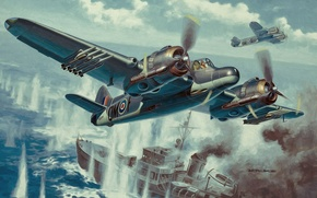 Picture weapon, war, painting, drawing, ww2, dogfight, raf, british fighter, british aircraft, aviation art, armyart, beaufighter
