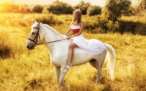 Picture the sky, girl, nature, animal, horse, profile, white dress, Vzglyad