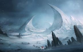 Picture white, snow, landscape, mountains, red, stones, rocks, horse, rider, fantasy, art, cloak, Blinck