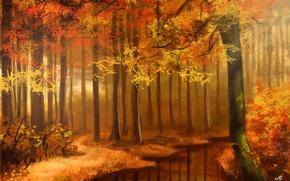 Wallpaper ART, ART, NATURE, FIGURE, AUTUMN FOREST, AUTUMN FOREST, SUNIMO