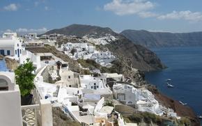 Picture the sky, ships, Santorini, Greece, The Aegean sea, rocky shore, white houses