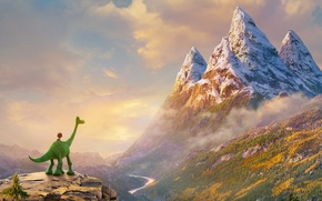 Picture forest, landscape, mountains, green, river, rocks, cartoon, dinosaur, boy, fantasy, gorge, adventure, The good dinosaur, ...