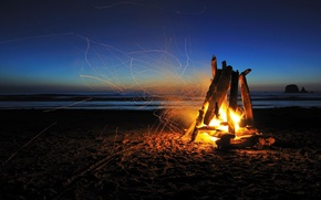 Picture camp, Hiking, the coals, embers, sand, sea, beaches, mood, night, the ocean, branches, traces, fire, ...