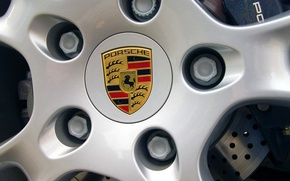 Wallpaper The hood, Porsche, Logo