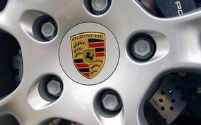 Wallpaper Logo, Porsche, The hood