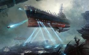 "Picture battleship, World of Warships, cosmonautics day, space battleship ""North Carolina"""