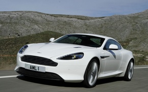 Picture road, the sky, landscape, mountains, Aston Martin, coupe, virage