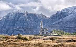 Picture cathedral, mountains, clouds, Ireland, architecture, countryside, Donegal, church, religion, sacred place, Church of the Sacred …