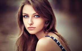 Picture look, girl, background, portrait, makeup, hairstyle, brown hair, beautiful, bokeh, Lea, Lods Franck