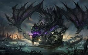 Picture swamp, Dragon, bones, skull, undead