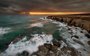 Wallpaper sea, wave, the sky, water, clouds, light, landscape, sunset, nature, rocks, waves, light, sky, sea, ...