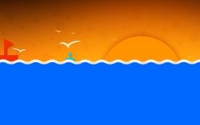 Picture sea, wave, the sky, the sun, landscape, birds, boat