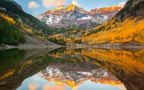 Picture autumn, forest, reflection, lake, Colorado, USA, rocky mountains, state, Maroon Bells