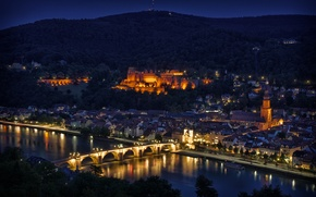 Picture night, bridge, lights, reflection, river, view, height, Germany, backlight, panorama, Heidelberg
