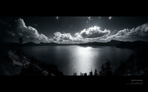 Picture the sky, clouds, trees, black and white, water surface