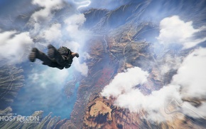 Picture clouds, mountains, soldiers, flight, ghost recon wildlands