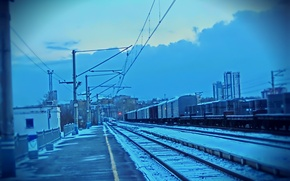 Picture the sky, rails, train, line, trains, Ekaterinburg, district, outskirts