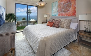 Picture sea, palm trees, view, bed, pillow, horizon, chandelier, bedroom, from the window