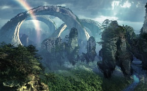Picture Islands, mountains, stones, jungle, flying, Pandora, AVATAR