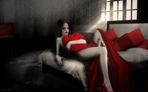 Picture fantasy, photography, girls, photoshop, red solo, Sigua