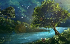 Picture summer, leaves, rays, trees, landscape, nature, protein, art, river, painting, green, ptitsy