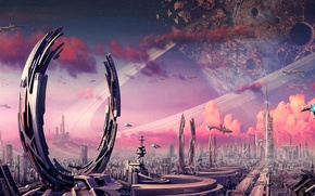 Picture the city, stones, fiction, transport, planet, ships, ring, art, facilities, crater