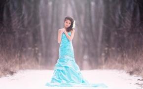 Picture snow, dress, girl, bokeh, frozen, fine art, children photography