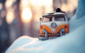 Picture winter, auto, macro, snow, model, toy, shooting, machine, the snow, toy, photo, photographer, miniature, minibus, …