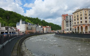Picture mountains, river, glade, Rosa Khutor