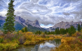 Picture mountains, trees, the bushes, lake, autumn, clouds, the sky, river, forest
