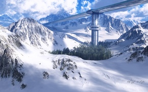 Picture snow, mountains, bridge, people, construction, travelers