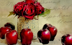 Picture flowers, apples, roses, still life
