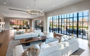 Picture the city, interior, penthouse, living space