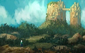 Picture forest, art, adventure time, Adventure time, kid, city-mountain, Finn