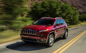 Picture trees, track, limited, riding, Jeep Grand Cherokee, Jeep Grand Cherokee 2014