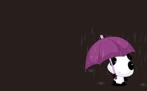 Picture the rain, drops, umbrella, mood, minimalism, anime, art, Panda