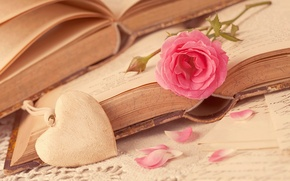 Picture flower, love, heart, rose, books, petals, love, rose, flower, i love you, heart, pink, romantic, ...