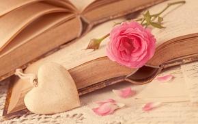 Picture flower, love, heart, rose, books, petals, love, rose, flower, i love you, heart, pink, romantic, …