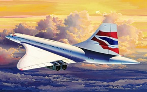 Picture art, painting, aviation, Concorde, ariplane