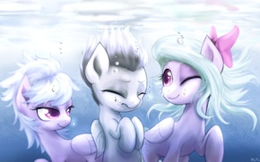 Picture sea, water, light, bubbles, glare, kindness, friendship, pony, smile, fun, Pony, Cloudchaser, Flitter