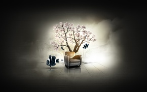 Picture fish, tree, fish, chair, Sakura, Dilshan Arukatti, immersive-garden