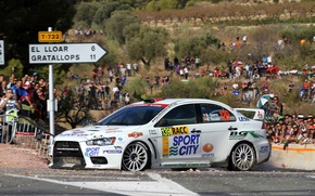 Picture White, People, Turn, Mitsubishi, Lancer, Rally, Fans, 139, Benito Guerra