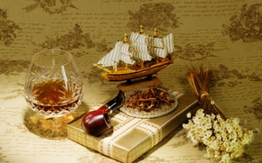 Picture gift, model, tube, cognac, tobacco, vehicle, sailboat