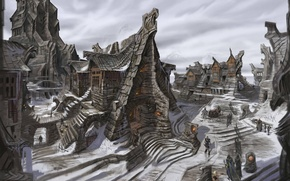Picture winter, snow, the city, people, Skyrim, concept art, The Elder Scrolls V, Of windhelm