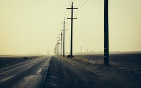 Wallpaper posts, morning, landscape, road