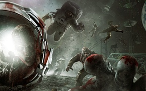 Picture space, stars, earth, the moon, station, zombies, astronauts, Call of Duty, Zombie, The Moon, DLC