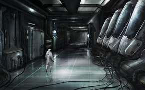 Picture fiction, wire, ship, astronaut, the suit, art, the room