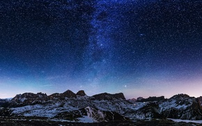 Picture space, stars, snow, mountains, mystery, The Milky Way
